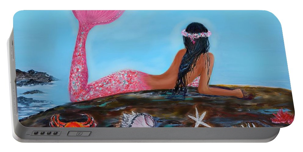 Mermaid Portable Battery Charger featuring the painting Magical Mystic Mermaid by Leslie Allen