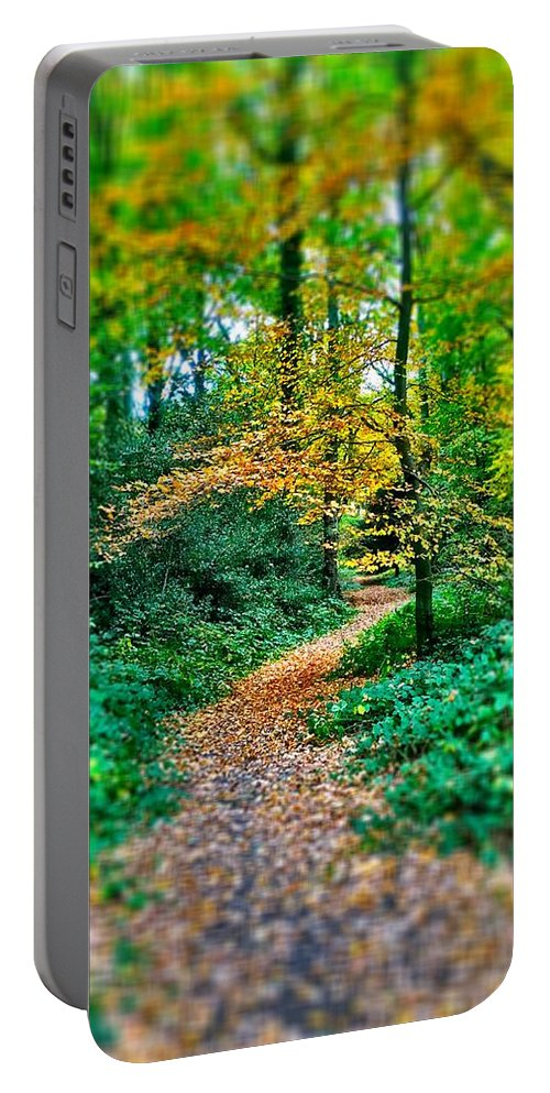 Wood Portable Battery Charger featuring the digital art Magical Woodland Walk by Mo Barton