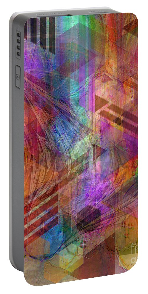 Magnetic Abstraction Portable Battery Charger featuring the digital art Magnetic Abstraction by John Beck