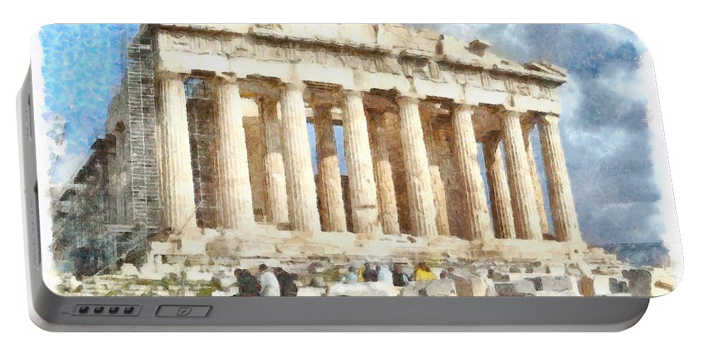 Parthenon Portable Battery Charger featuring the photograph Magnificent Acropolis In Athens by Ashish Agarwal