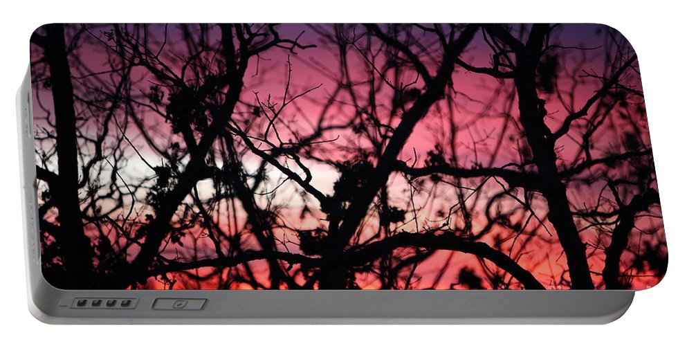 Sunset Portable Battery Charger featuring the photograph Magnificent Sunset And Trees by Nadine Rippelmeyer