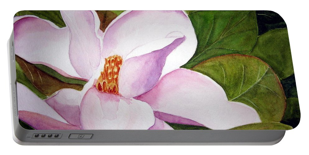 Flower Portable Battery Charger featuring the painting Magnolia Blossom by Julia RIETZ