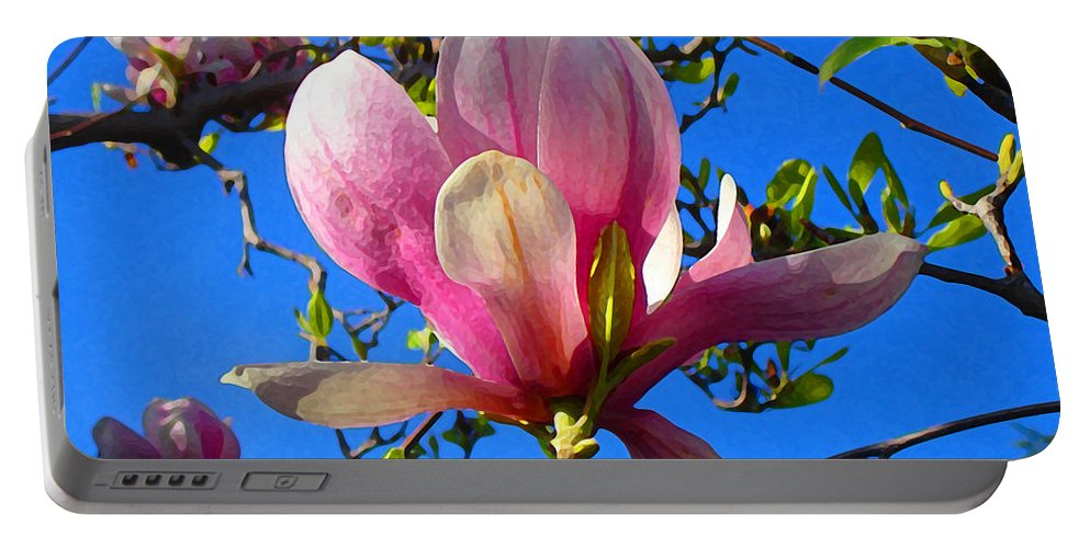 Magnolia Portable Battery Charger featuring the painting Magnolia Flower by Amy Vangsgard