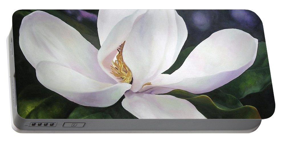Flower Portable Battery Charger featuring the painting Magnolia Flower by Chris Hobel