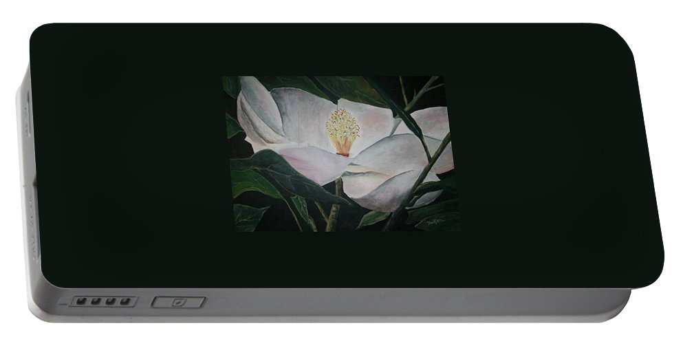 Oils Portable Battery Charger featuring the painting Magnolia Flower Oil Painting by Derek Mccrea
