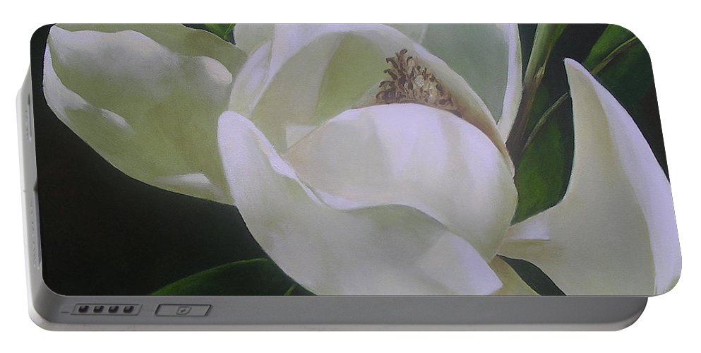 Magnolia Portable Battery Charger featuring the painting Magnolia Light by Chris Hobel