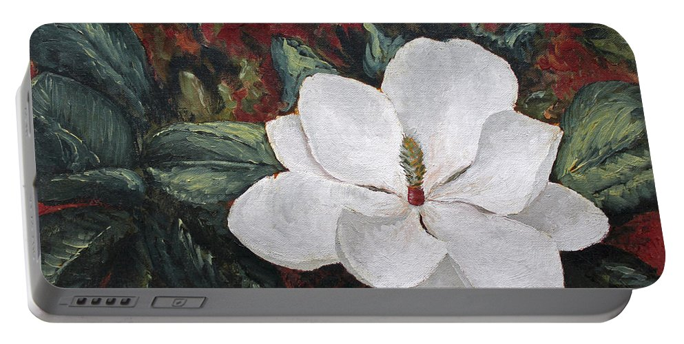 Flower Portable Battery Charger featuring the painting Magnolia by Todd Blanchard