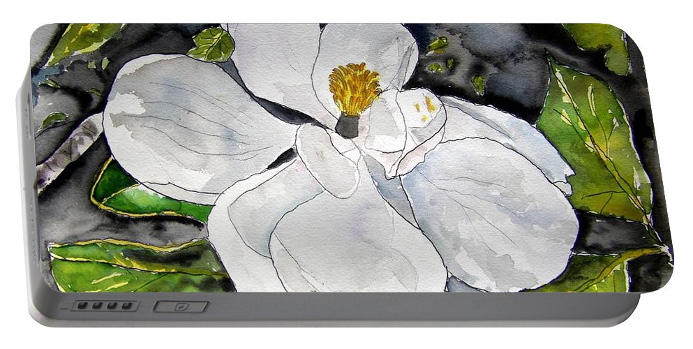Magnolia Portable Battery Charger featuring the painting Magnolia Tree Flower by Derek Mccrea