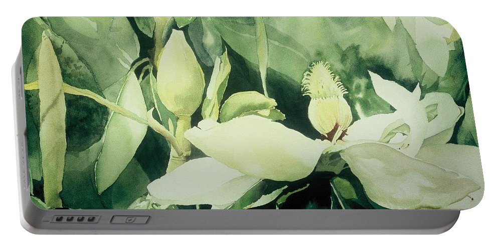 Magnolias Portable Battery Charger featuring the painting Magnolium Opus by Elizabeth Carr