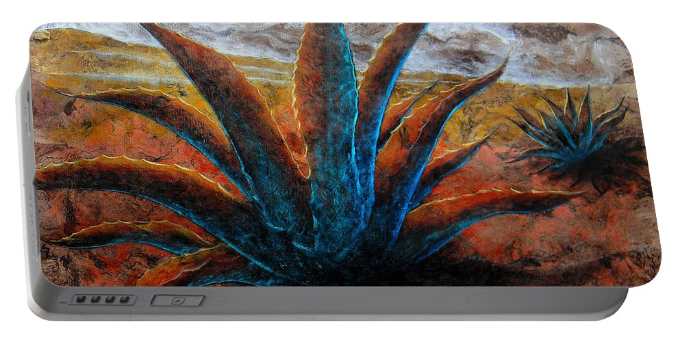 Maguey Paintings Portable Battery Charger featuring the painting A . G . A . V . E by J - O  N  E