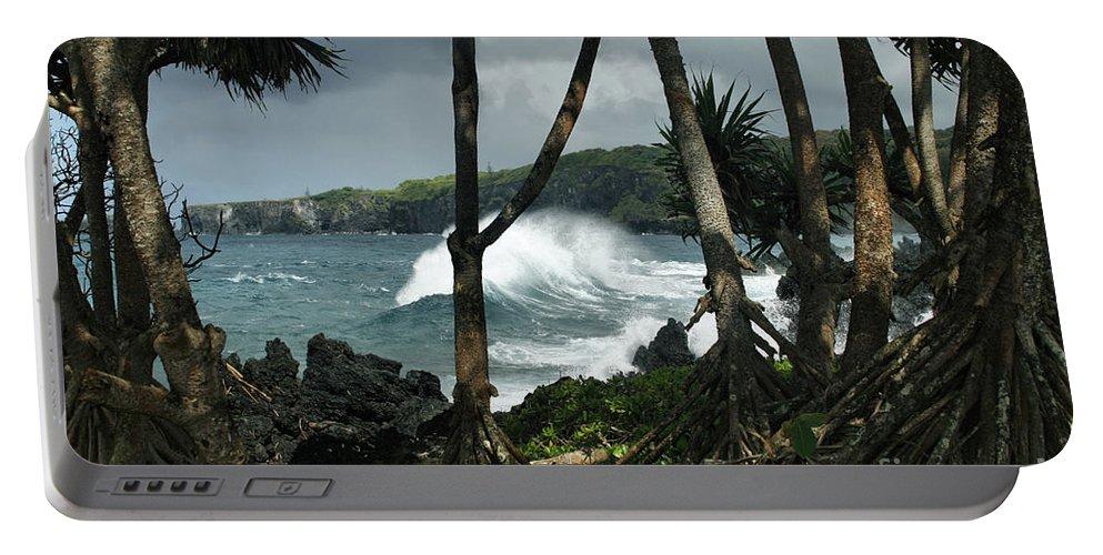 Aloha Portable Battery Charger featuring the photograph Mahama Lauhala Keanae Peninsula Maui Hawaii by Sharon Mau