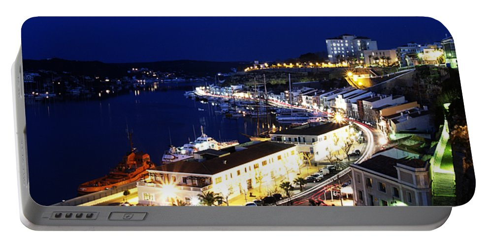 Mediterranean Portable Battery Charger featuring the photograph Mahon Harbour At Night by Pedro Cardona Llambias