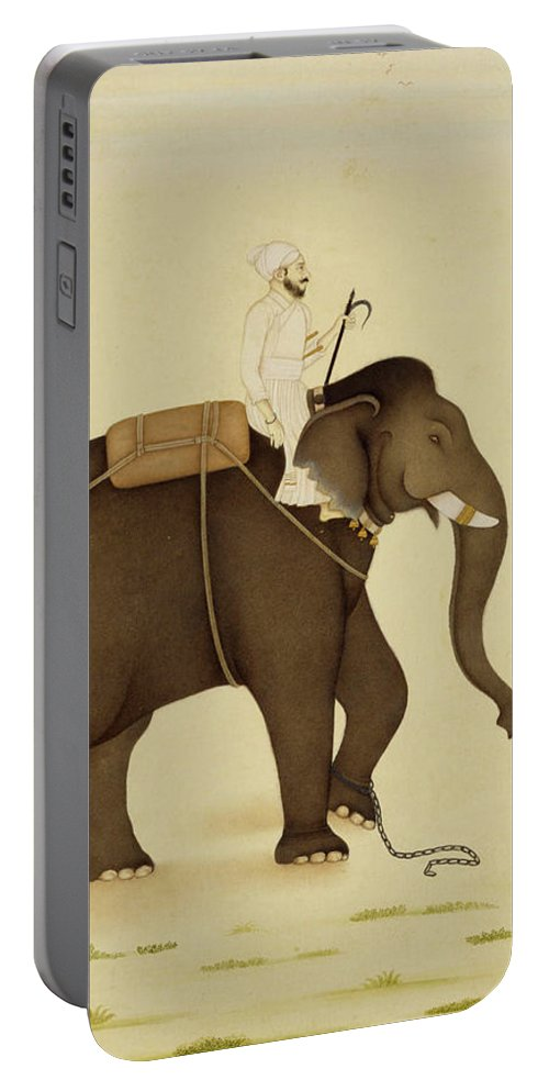Elephant Portable Battery Charger featuring the painting Mahout Riding An Elephant Painting - 18th Century by VintageArtAssociates