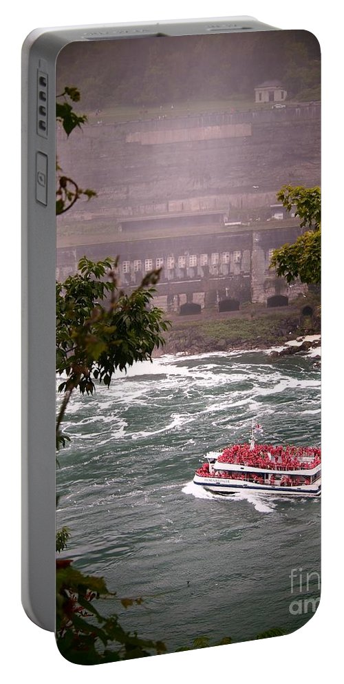 Canada Portable Battery Charger featuring the photograph Maid Of The Mist Canadian Boat by Jennifer Craft