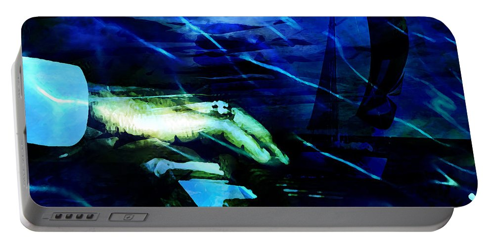 Voyage Portable Battery Charger featuring the digital art Maiden Voyage by Ken Walker