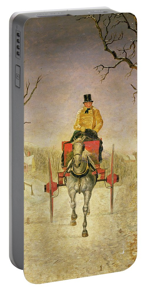 Mail Cart Portable Battery Charger featuring the painting Mail Cart Christmas by R R Ripley