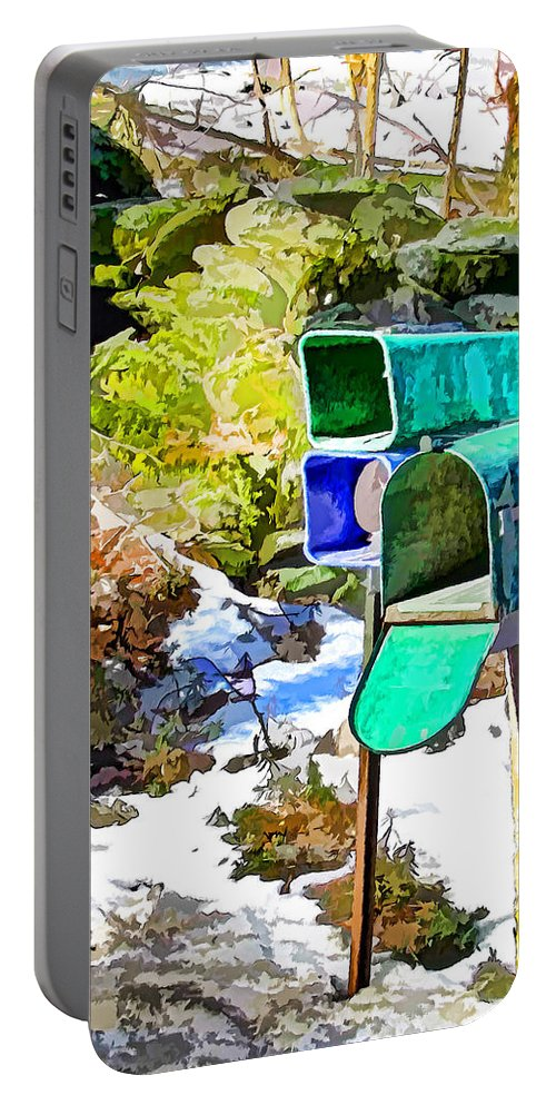Mailbox Portable Battery Charger featuring the painting Mailbox by Jeelan Clark