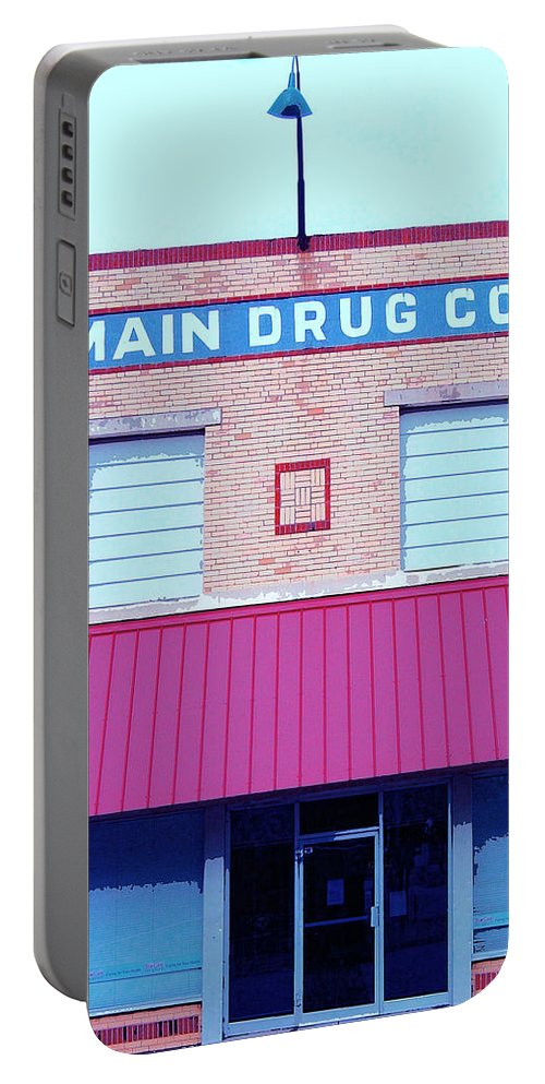 Old Building Portable Battery Charger featuring the mixed media Main Drug Company by Dominic Piperata