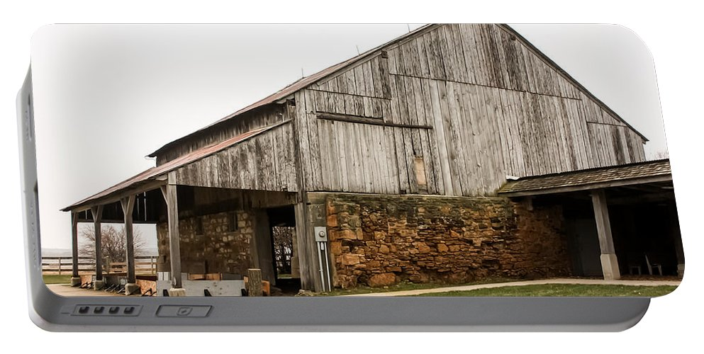 Main Part Of The Amana Farmer's Market Barn Amana Ia Portable Battery Charger featuring the photograph Main Part Of Amana Farmer's Market Barn Amana Ia by Cynthia Woods