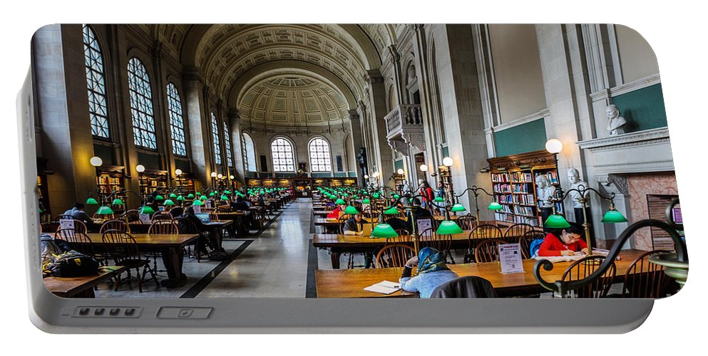 Americana Portable Battery Charger featuring the photograph Main Reading Room Of Boston Public Library by Thomas Marchessault