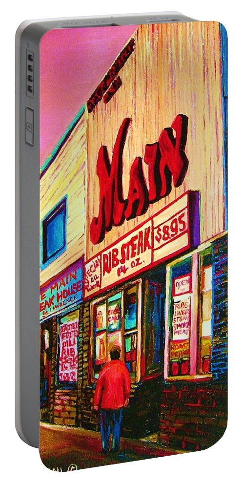 Montreal Portable Battery Charger featuring the painting Main Steakhouse Blvd.st.laurent by Carole Spandau