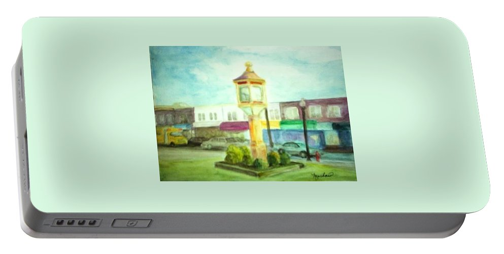 Clock Portable Battery Charger featuring the painting Main Street by Sheila Mashaw
