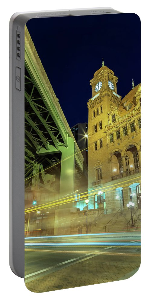 City Portable Battery Charger featuring the photograph Main Street Station-vertical by Jonathan Nguyen