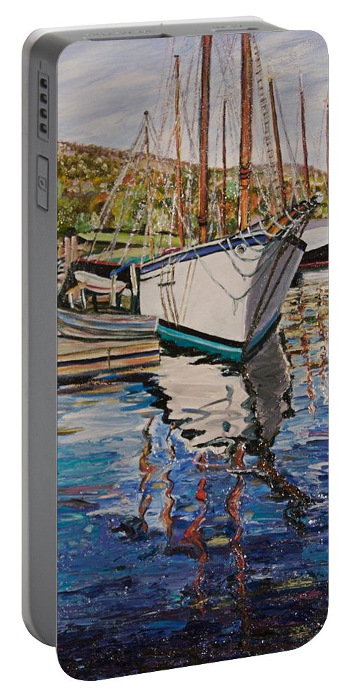 Maine Portable Battery Charger featuring the painting Maine Coast Boat Reflections by Richard Nowak