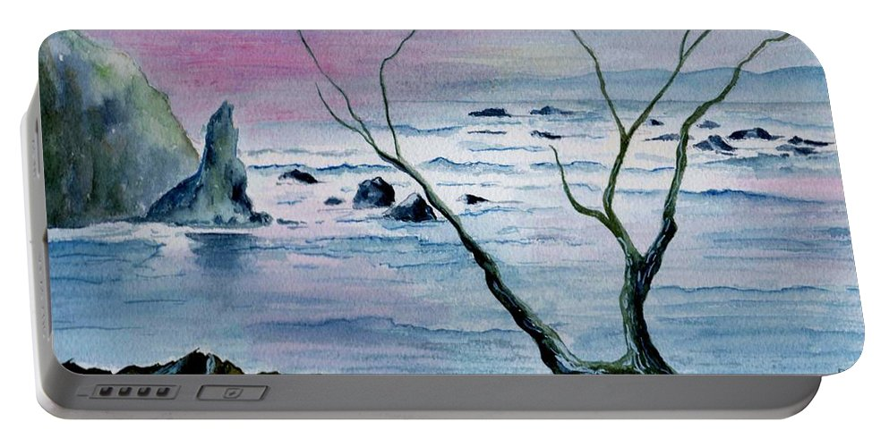 Watercolor Portable Battery Charger featuring the painting Maine Seawatch by Brenda Owen