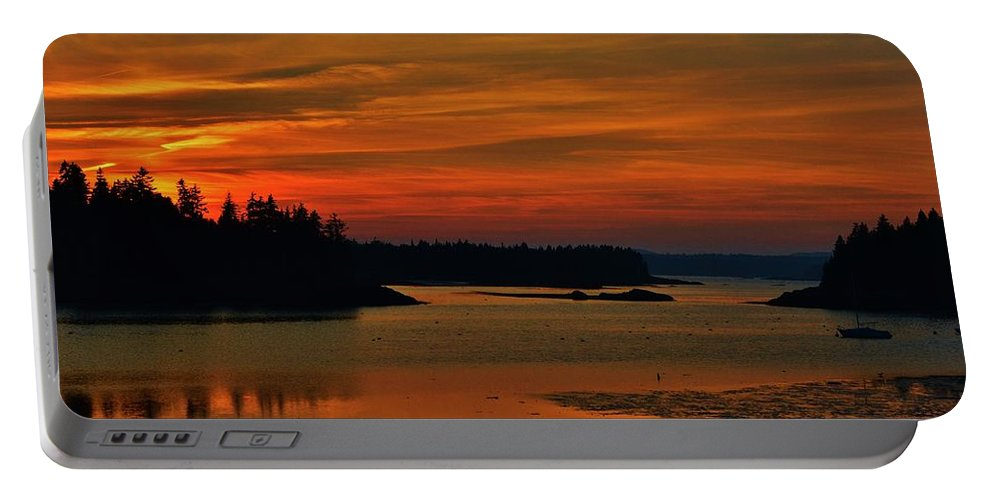 Sunset Portable Battery Charger featuring the photograph Maine Sunset by Lisa Kane