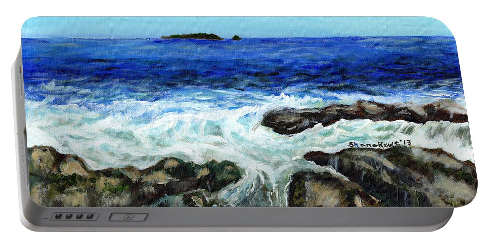 Tide Portable Battery Charger featuring the painting Maine Tidal Pool by Shana Rowe Jackson