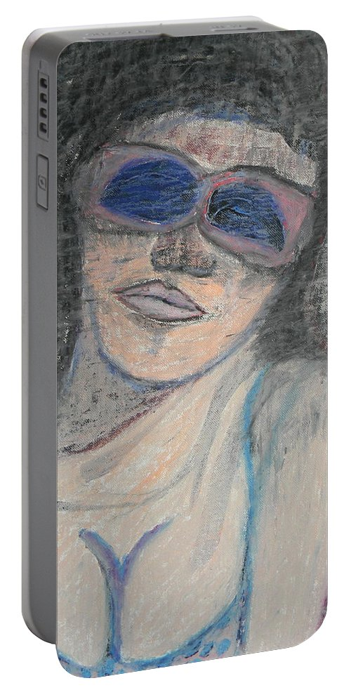 Woman Portable Battery Charger featuring the painting Maine Woman by Marwan George Khoury