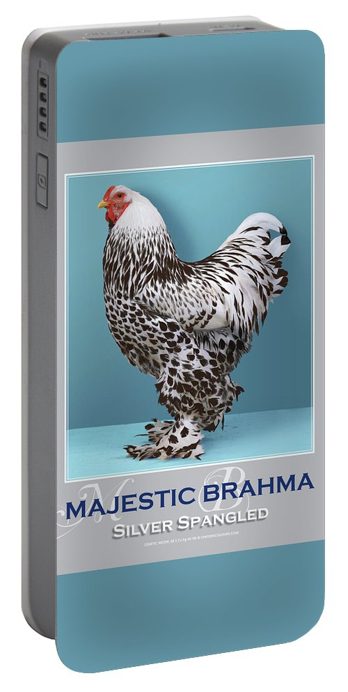 Poultry Portable Battery Charger featuring the digital art Majestic Brahma Silver Spangled by Sigrid Van Dort