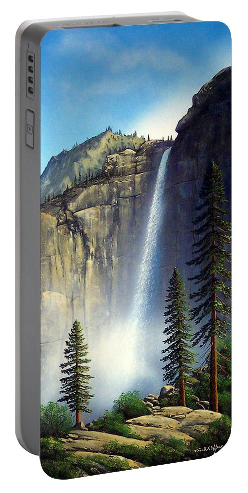 Landscape Portable Battery Charger featuring the painting Majestic Falls by Frank Wilson
