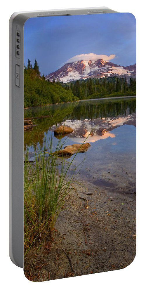 Mt. Rainier Portable Battery Charger featuring the photograph Majestic Glow by Mike Dawson