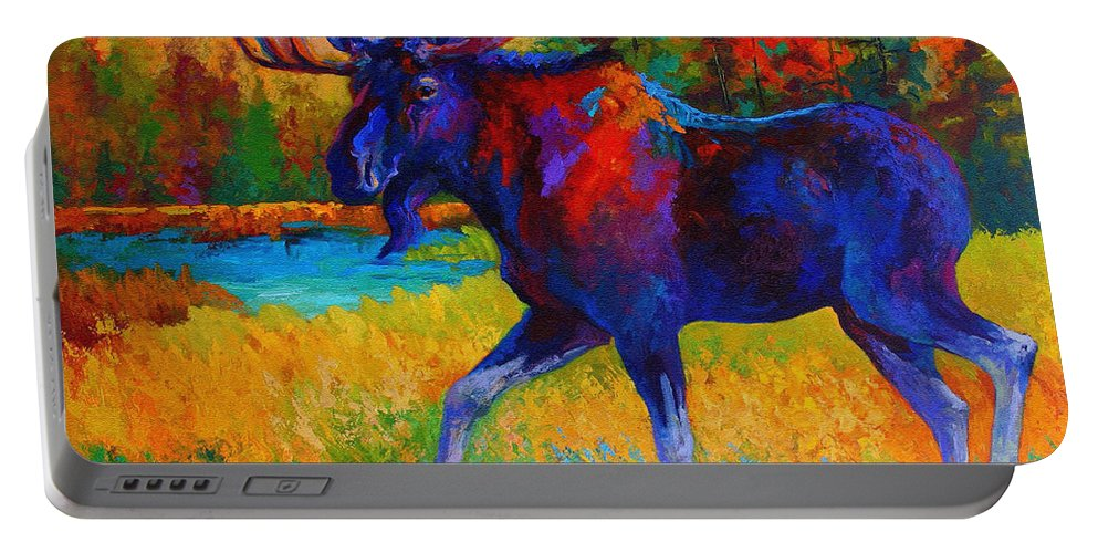 Moose Portable Battery Charger featuring the painting Majestic Monarch - Moose by Marion Rose