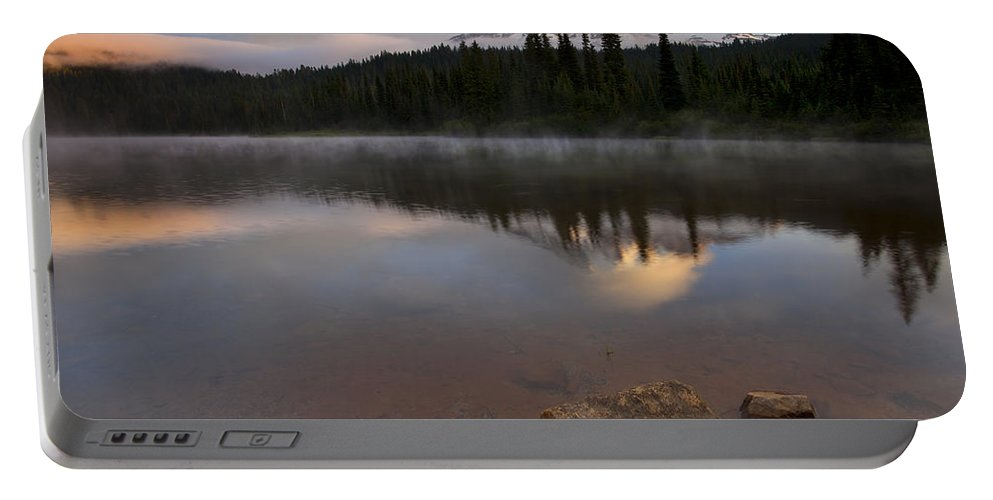 Mt. Rainier Portable Battery Charger featuring the photograph Majestic Rainier Dawn by Mike Dawson