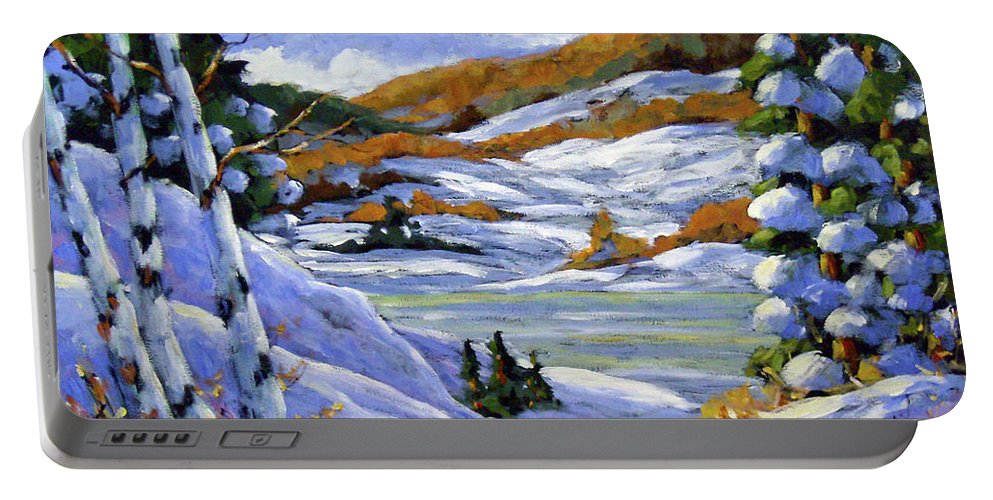 Art Portable Battery Charger featuring the painting Majestic Winter by Richard T Pranke