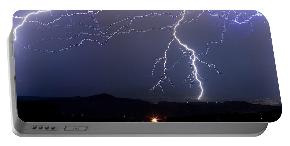 Lightning Portable Battery Charger featuring the photograph Major Foothills Lightning Strikes by James BO Insogna