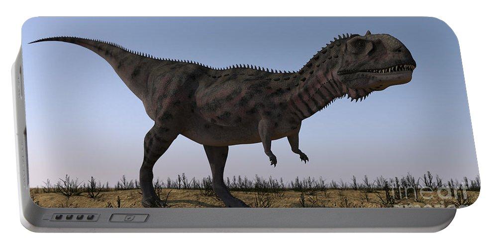 Artwork Portable Battery Charger featuring the digital art Majungasaurus In A Barren Environment by Kostyantyn Ivanyshen