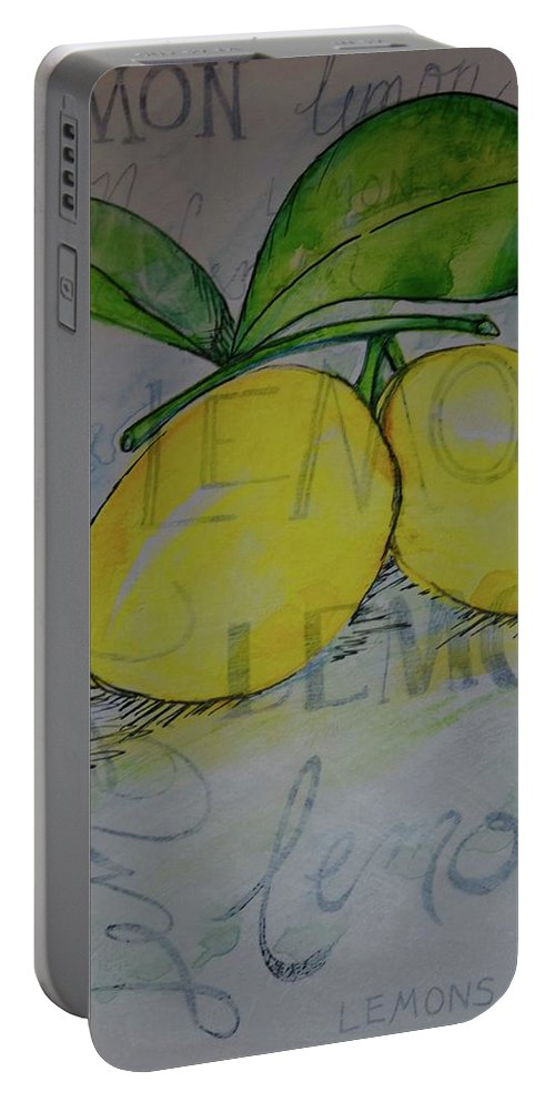 Lemon Yellow Green Leaves Typography Bright Kitchen Art Pretty Seeds Sour Portable Battery Charger featuring the painting Make Lemonade by Anne Seay
