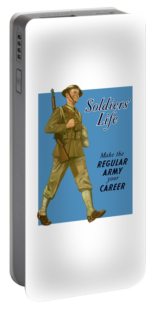 Army Portable Battery Charger featuring the painting Make The Regular Army Your Career by War Is Hell Store