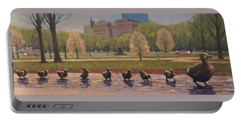 Ducklings Portable Battery Charger featuring the painting Make Way For Ducklings by Dianne Panarelli Miller