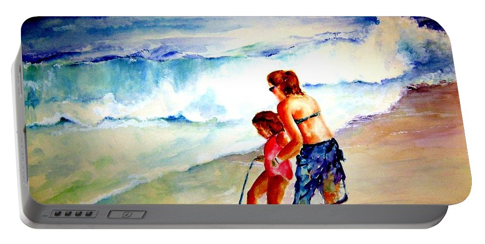 Beach Surf Portable Battery Charger featuring the painting Making A Memory by Sandy Ryan