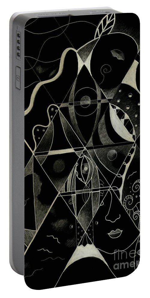Matrix Portable Battery Charger featuring the digital art Making Points In Multiple Perspectives - An Inversion by Helena Tiainen