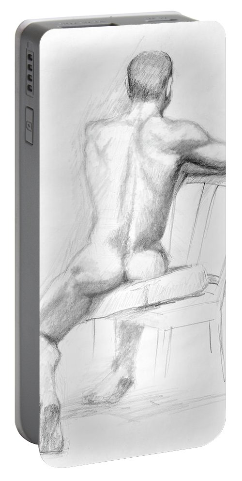 Male Portable Battery Charger featuring the drawing Male Nude With Chair by Keith Burgess