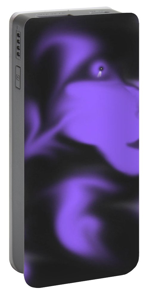 Space Face Purple Alien Imagination Black Outerspace Portable Battery Charger featuring the digital art Male Space Face by Andrea Lawrence