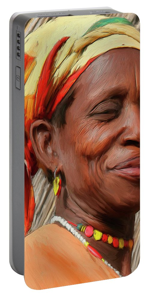 African Portable Battery Charger featuring the painting Maleea by Dominic Piperata