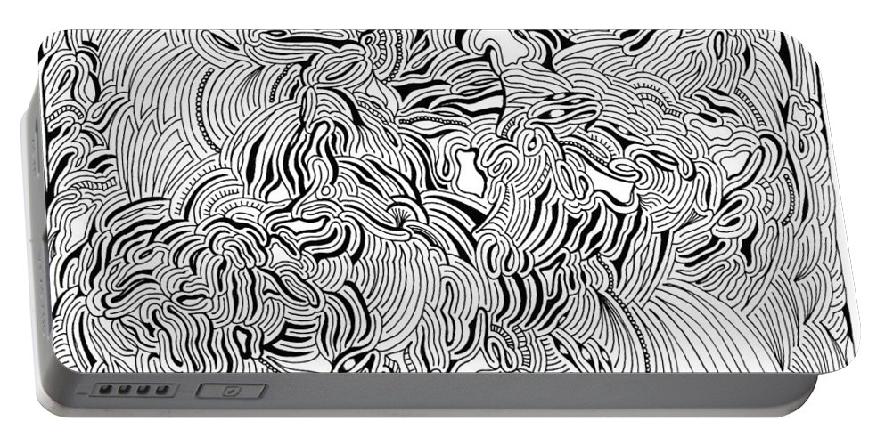 Mazes Portable Battery Charger featuring the drawing Malevolent by Steven Natanson