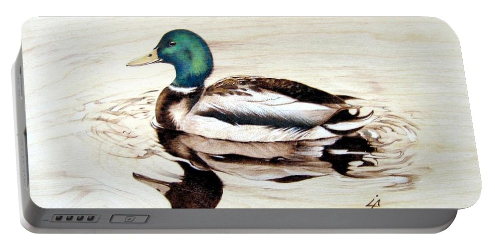 Pyrography Portable Battery Charger featuring the pyrography Mallard by Ilaria Andreucci